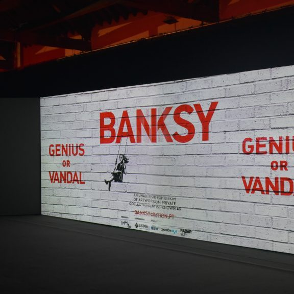 'Genius or Vandal' exhibition of works by the artist 'Banksy' at the Cordoaria Nacional art space in the city of Lisbon, Portugal.