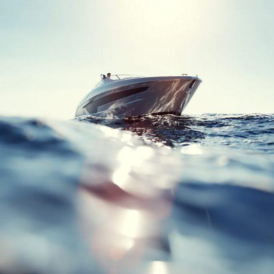 Catamaran motor yacht on the ocean at sunny day