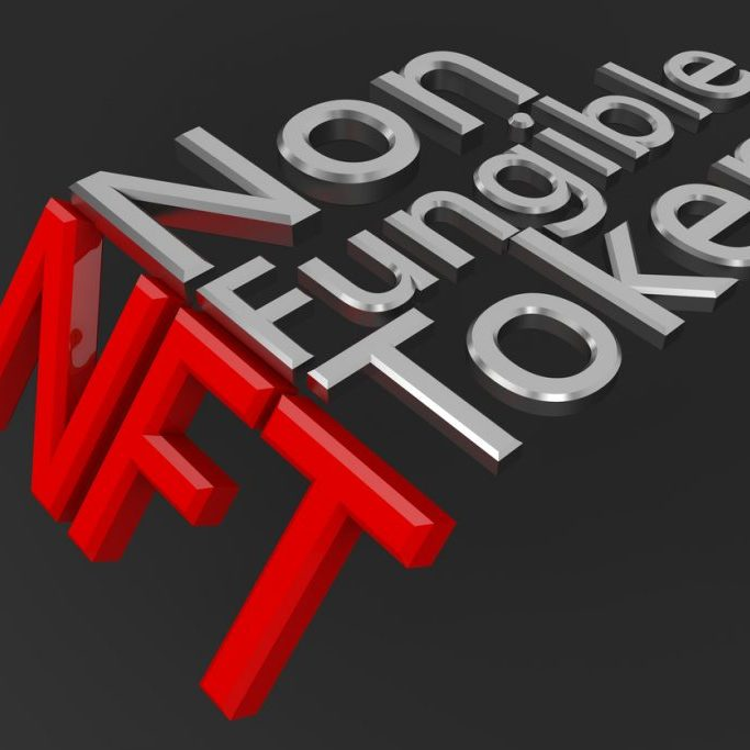 Non-fungible tokens concept. A non-fungible token NFT is a type of cryptorurrency which represents something unique. Future of art market.